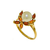 QP Jewellers Garnet, Citrine & Pearl Ivy Ring in 14K Gold
