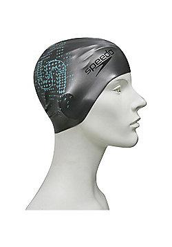 Speedo Monogram Reversible Senior Silicone Swimming Cap - Silver