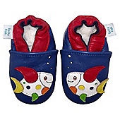 Dotty Fish Soft Leather Baby Shoe - Navy Multicoloured Fish - 0-6 mths