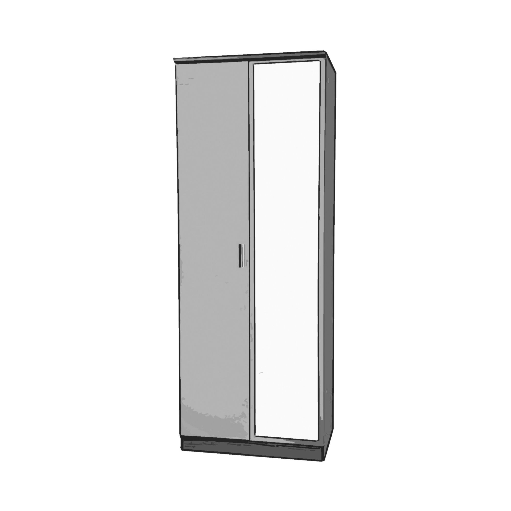 Welcome Furniture Mayfair Tall Wardrobe with Mirror - Black - Ebony - Black at Tesco Direct