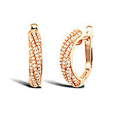 Jewelco London Rose Coated Sterling Silver Cubic Zirconia Pave Micro Set Huggie Earrings