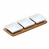 Serve - Set Of 3 Square Porcelain Snack Bowls + Bamboo Tray - White