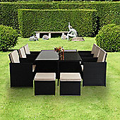 Outsunny 11pc Rattan Garden Furniture Cube Dining Set Black
