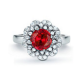The REAL Effect Rhodium Plated Sterling Silver Ruby-Red-Colour Cubic Zirconia Dress Ring Size