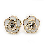 Children's/ Teen's / Kid's Tiny White Enamel 'Rose' Stud Earrings In Gold Plating - 8mm Diameter