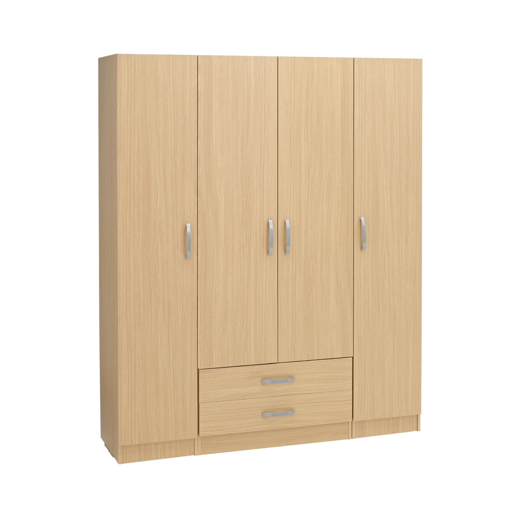 Ideal Furniture Budapest 4 Door Wardrobe - Oak at Tesco Direct