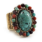 Vintage Turquoise Oval Flex Ring (Antique Gold Finish) - Size 7/8