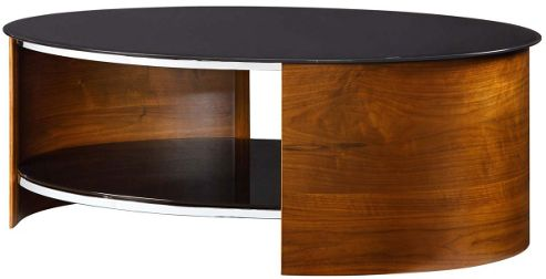 JF301 Black Glass And Walnut Coffee Table