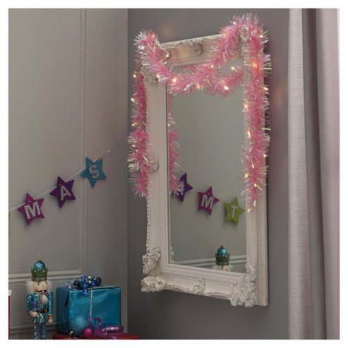 Festive Neon Pink Pre-Lit Christmas Tinsel, 2m