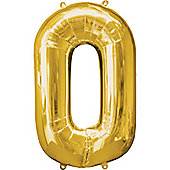 """Gold Number 0 Balloon - 34"""" Foil"""