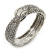 Burn Silver Vintage Inspired Coiled Snake Hinged Bangle Bracelet - 17cm Length