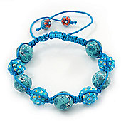 Sky Blue Acrylic/Diamante Bead Children/Girls/ Petites Teen Shamballa Bracelet On Light Blue String