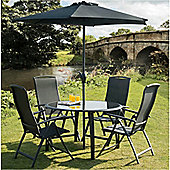 Suntime Havana 6 Piece Round Dining Set with Parasol - Black