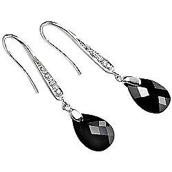 Black Cubic Zirconia Teardrop Earrings