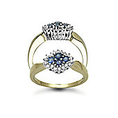9 Carat Yellow Gold 17pts Diamond & Sapphire Ring
