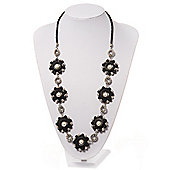 Long Silver/Black Plastic Floral Necklace On Leather Style Cord - 70cm Length