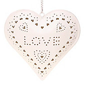 Love - Hanging Metal Tea Light Holder - Cream