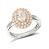 Jewelco London Rose Coated Sterling Silver Cubic Zirconia Gemstone Ring Size