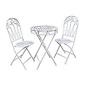 Romance Bistro Antique White Set - 60cm Folding Table with 2 Folding Chairs