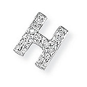 Jewelco London 9ct White Gold - Diamond - H' Initial Charm Pendant -