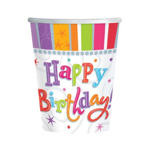 Radiant Birthday Party Cups - Pack of 8