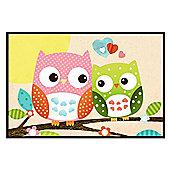 Gloss Black Framed Patchwork Owls Poster