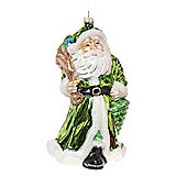Large Green Father Christmas Glass Figurine Bauble