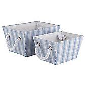 Blue Core Stripe Storage Baskets, Set of 2