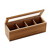 Bamboo - 4 Compartment Tea Caddy / Storage Box - Natural