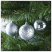 Festive Silver Baubles, 6 Pack
