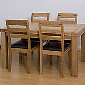 G&P Furniture 5 Piece Extending Oak Dining Set - 76.2cm H x 120cm - 180cm W x 80cm D