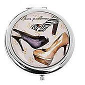 Zebra Print Shoe Compact Mirror
