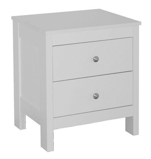 Verona 2 Drawer Bedside Table, White