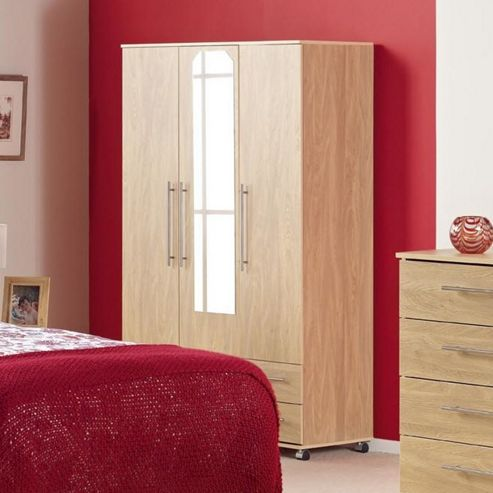 Ideal Furniture Bobby Triple Wardrobe with 2 Drawer and Mirror - White