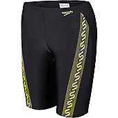 Speedo Boy's 'Monogram' Jammer - Black & Yellow