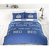 Rapport Keep Calm King Quilt Set Royal Blue