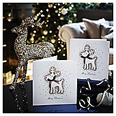Luxury Glitter Reindeer Christmas Cards, 6 pack