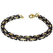 Urban Male Solid Stainless Steel Two Tone Byzantine Link Bracelet For Men