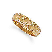 Jewelco London Bespoke Hand-made 8mm 9ct Yellow Gold Diamond Cut Wedding / Commitment Ring, Size R