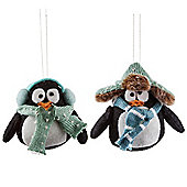 Set of Two Felt Penguin Hanging Christmas Tree Decorations