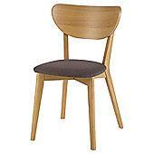 Stockholm Set of 4 Chairs, Oak & Linen Effect Mocha