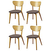 Stockholm Set of 4 Chairs, Oak & Linen Effect Mocha