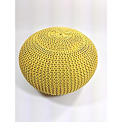 Kaikoo Large Knitted Pouffe Yellow