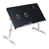 Homcom Portable Table Folding Laptop Desk Stand Tilt Adjustable Aluminum w/ Cooling Black