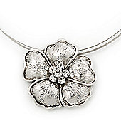 Diamante Textured 'Daisy' Pendant Wire Choker Necklace In Silver Plating - 36cm Length/ 7cm Extension