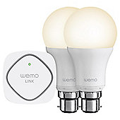 Belkin WeMo Smart Light Bulb Starter Kit bundle -  Bayonet - (2 x smart bulbs + 1 x WeMo Link)