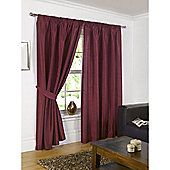 Faux Silk Lined Pencil Pleat Wine Curtains & Tiebacks - 46x48 Inches