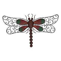 Decorative Rusty Look Metal Dragonfly Garden Wall Art Feature