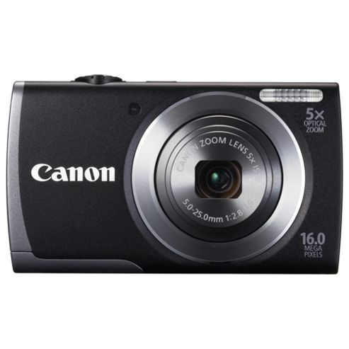 Canon A3500 Digital Camera, Black, 16MP, 5x Optical Zoom, 2.7