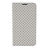 Tortoise™ Look Notebook Case with built in stand, Samsung Galaxy S5 Polka Dot Mini design Cream / Black spots